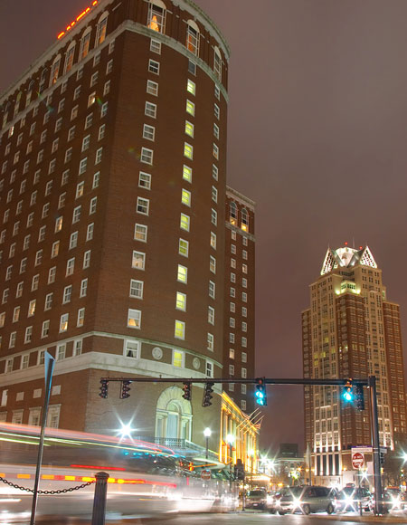 Providence Rhode Island Downtown at night